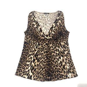 🍓 Elie Tahari leopard silk top SP